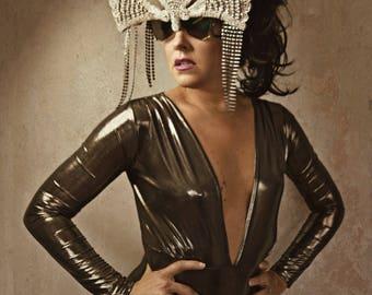 Zocculus Shades Sunglasses silver beaded avant garde futuristic festival glasses accessory burning man festival