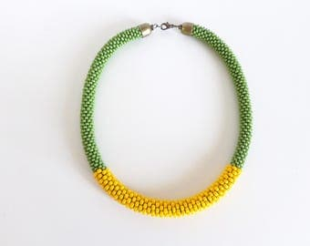 Yellow Rope Necklace // Summer Necklace // Green Beaded Necklace // Gift Idea // Crochet Rope Necklace // Statement Necklace // Gift Guide