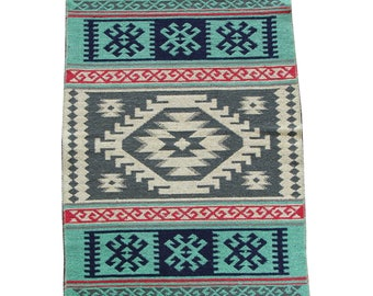 Small Kilim Rug - New Reversible Small Turkish Kilim Rug or Mat in Green, Sage and Blue - 96cm x 60cm