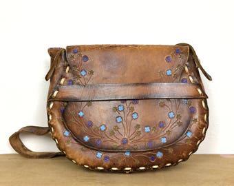 Brown Leather Saddle Bag - Vintage 60s Boho Purse