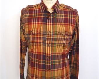 Ralph Lauren Indian Madras Military Shirt / vintage Polo burgundy red, orange & gold plaid pattern epaulets shirt / men's large