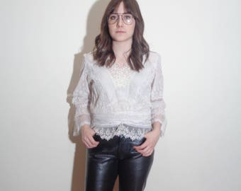 Vtg 70s Does EDWARDIAN Layered LACE Top! Small
