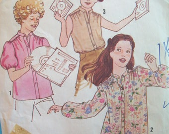 Girl's Blouse Variety 1970s Simplicity Pattern 8669 Size Small/Size 7