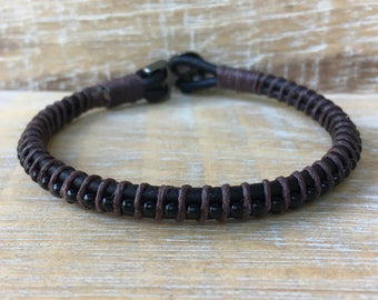 Men's Leather Bracelet, Men's Bracelets, Groomsmen Gifts, Anniversary Gifts for Him, Gifts for Dad, Gifts for Boyfriend, Manly Gifts