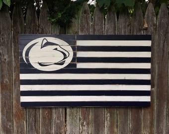 Large Distressed Penn State Wooden Flag PSU Nittany Lions Penn State University Football Lion Head Logo Man Cave Bar Decor 20x36