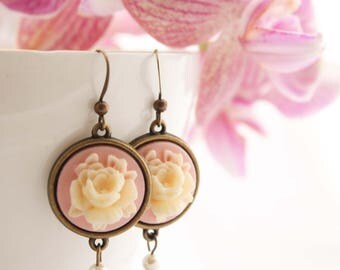 Pink Cameo Earrings - Regency Style Swarovski Pearl Vintage Rose Flower Drop Dangle Wedding Bridesmaid