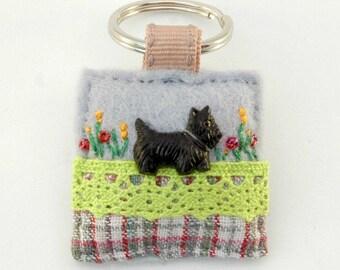 scottie dog keyring, black dog key ring, scottish terrier dog, scotty, dog lover gift, distinctive gifts, handmade keychain, dog walker gift