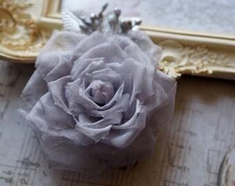 Silver Wedding Accessory, Grey Fabric Flower, Grey Wedding Flower, Grey Bridesmaid Flower, Gray Bridal Hair Flower, Grey Hair Flower