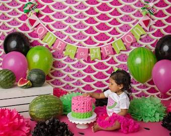 WATERMELON BIRTHDAY BANNER / Watermelon birthday party / Watermelon birthday decorations / One in a melon party / 1st birthday girl banner