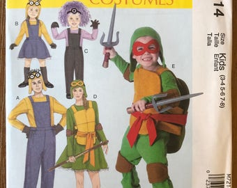 UNCUT Child Toddler and Adult Halloween Costume Sewing Pattern McCall's 7214 Minions Halloween Costume Pattern Minon, Ninja Turtles, Monster