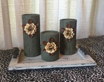 Wooden Candleholders (set of 3)  Sage Glaze with Cream Flowers