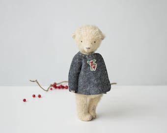 Mohair Teddy Bear Holly Embroidered Jacket 9 Inches, Stuffed Animal, Handmade Toy, Artist Teddy Bear, Christmas Gift, Personalized Gift