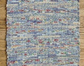 "Hand Woven Blue White Table Runner - 15"" x 34"""