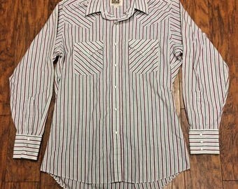 Vintage Retro 70s 80s Ely Cattleman Pearl Snap Front Western Cowboy Rodeo Plaid Shirt Medium