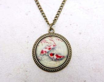 Fish Necklace, FishJewelry, Koi necklace, Koi jewelry, 2525C