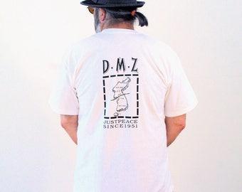 90s Korea DMZ T-shirt, Demilitarized Zone Tee, Vintage South Korean Peace T-shirt, South Korea Map T-shirt, No More War Tee, DMZ Tee, L XL