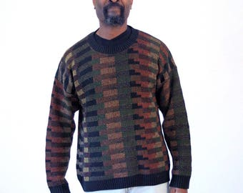 90s Coogi Style Pullover Sweater, Earth Tone Sweater, Brown Green Black Jumper, 80s Sweater, Dad Sweater, Large