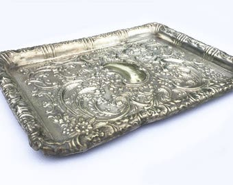 Antique silver plated tray EPNS trinket dish Art Nouveau Ornate Flowers Swags Scrolls Card tray Distressed metal