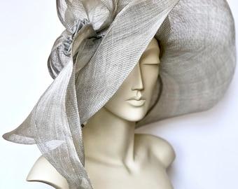 Wide Brim Gray Straw Hat  Kentucky Derby Hat Large Brim Church  Hat Easter Hat