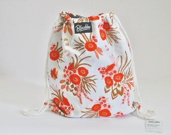 Drawstring Backpack, Cotton, Chambray Denim Lining, Ochre Floral Print, Pockets, Orange