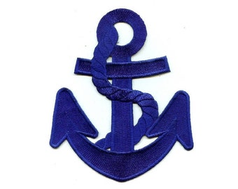 "Anchor - Navy Blue W/Rope - Nautical Embroidered Iron On Patch - 5 7/8""H"