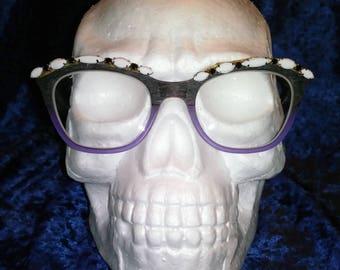 Vintage Swarovski crystal Spc trims inspired clip on eyeglasses trim