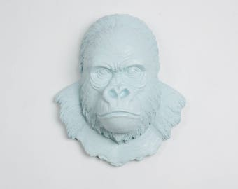 White Faux Taxidermy Gorilla Head - The Mambo in Powder Blue - Silverback Ape Head - Primate Mounted- Resin Animal Wall Art Ornament