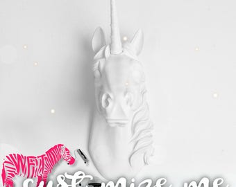 Custom Unicorn Head Wall Mount, Custom Bayer Unicorn Wall Art by WhiteFauxTaxidermy Unicorn Decorations, great gift to those Near and Dear