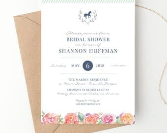 Kentucky Derby Bridal Shower Invitations, Horse Race or Equestrian Themed Baby Shower, Baby Sprinkle Invite, Belmont Stakes Preakness Party