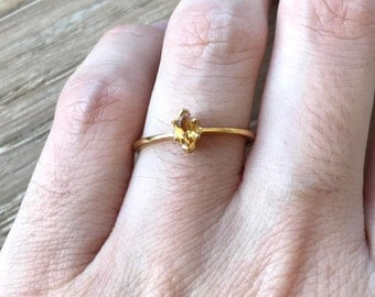 Citrine Tiny Marquise Ring- Yellow Topaz Stackable Ring- Small Sterling Silver Ring- November Birthstone Ring- Minimalist Yellow Topaz Ring