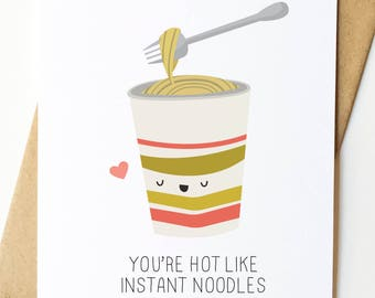 Instant Noodles Funny Valentine Cute Illustration Card