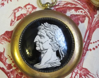Caesar Original Decoupage Under Glass Wall Medallion Art. Neoclassical Home Office Decorating Decor. Roman Statesman Man Figure Portrait Art