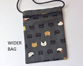 """Pouch Zip Bag CAT Faces on Grey Fabric - great for walkers, markets, travel. Cell Phone Pouch. Small fabric Purse.  WIDER Bag 7"""" X 5.25"""""""