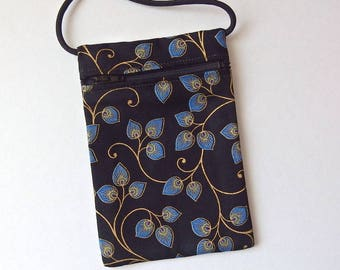 Pouch Zip Bag BLUE leaves Black Fabric - great for walkers, markets, travel. Cell Phone Pouch, Ipod pouch. Evening purse. gold accents.
