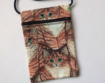 """CAT Zip Bag Pouch - Cell Phone Pouch. Great for walkers, markets, travel. Small fabric Purse. Cats Green Eyes on Tan Cream fabric 6.5x4.5"""""""