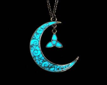 Crescent Moon Triquetra Necklace Glow In The Dark Antique Silver (glows aqua blue)