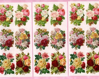 ROSE STICKERS, Violette Stickers, Victorian Rose Stickers, Victorian Stickers, Victorian Flower Stickers, Victorian Floral Stickers, Roses
