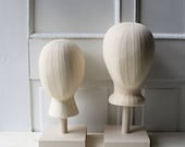 ONE Canvas Fabric Mannequin Head Display & Handmade Wooden Stand - Hat Display - Headpiece Display - Adult or Child Size  - Ready to Ship
