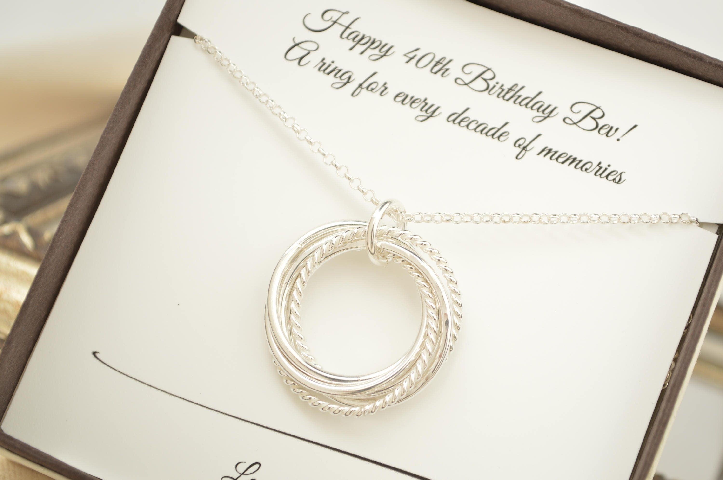 40th Wedding Anniversary Gifts For Friends: 40th Birthday Gift For Women, 4 Interlocking Rings