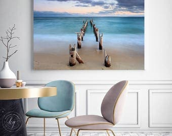Ocean Pier Metal Print, Large Beach Metal Wall Art, Large Teal Sea Decor, Dreamy Coastal Artwork, Cape Cod Photography, Falmouth MA Sunset