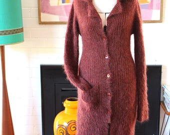 Vintage 1990s Mohair long cardigan by BEBE Italy Wine Colours