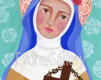 Saint Rose of Lima  , St Rosa de Lima Print Of Original Art, acrylic painting, gift, present, Folk Art, Wall Decore by Evona