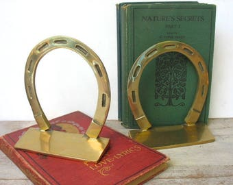 Brass Horseshoe Book Ends By Penco Good Luck Symbol Horse Lovers Western Equestrian Decor New Bedford Mass