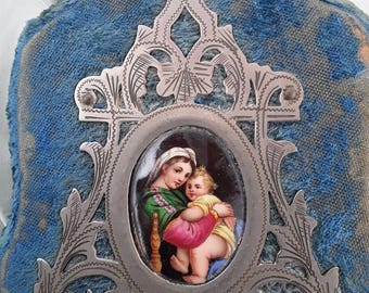 French Antique, Virgin Mary, Paintings, Hand Painted Antiques, Silk, Silk Velvet, Napoleon WII, Teal Blue , Benetier, Holy Water Font, Jesus