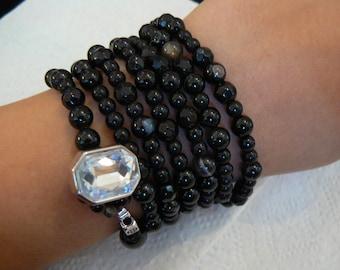 Onyx Gemstone Wrap Around Bracelet