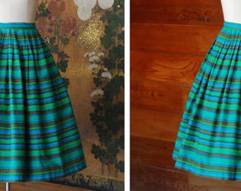 Vintage 1950s skirt / 50s blue and green striped cotton full skirt / small