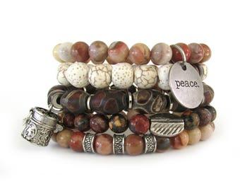 Women's Bracelet Stack with Peace and Prayer Box Charms - Bracelets for Women - Bracelet Set - Beaded Bracelets - Stretch Bracelets - WS7151