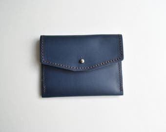 Navy leather purse 'Ink' super soft french blue unlined sam brown silver stud fastening perfect size for coins & cards small little