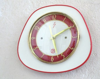French 1950-60s Atomic Age SMI Bright ORANGE Formica Wall Clock - Upside Down Funky Shape - Formica Wall Clock - Great Working Condition