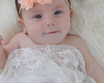 Peach Baby Headband, Infant Headband, Newborn Headband - Peach Headband Chiffon and Pearls Flower Headband, Easter Headband